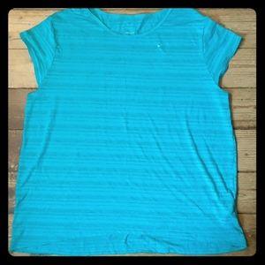 Nike Dri-Fit Teal Blue Workout Top Stripes X Large